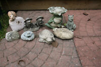 8  SMALL ASSORTED  DECORATIVE GARDEN  CEMENT ITEMS