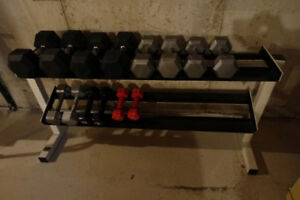 Full Set of HEx Dumbbells 7lbs to 45lbs + 2 Tier Dumbbell Rack