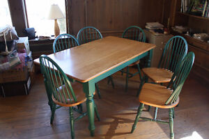 Ash country kitchen table and six chairs. Moving-Priced to sell