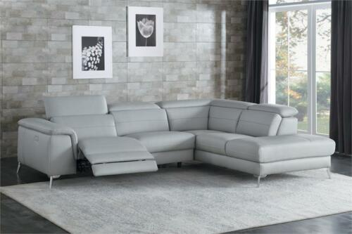 All 100% Leather Grey Reclining Usb Sofa Chaise Sectional Living Room Furniture
