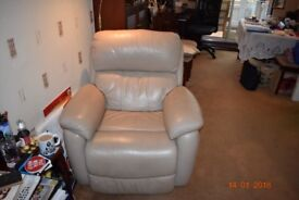 Leather 3 seater sofa and 2 armchairs full recliners all round.