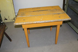 Old Primitive Wooden Potting Table - Mustard Paint