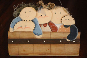 family bathtub wooden painting