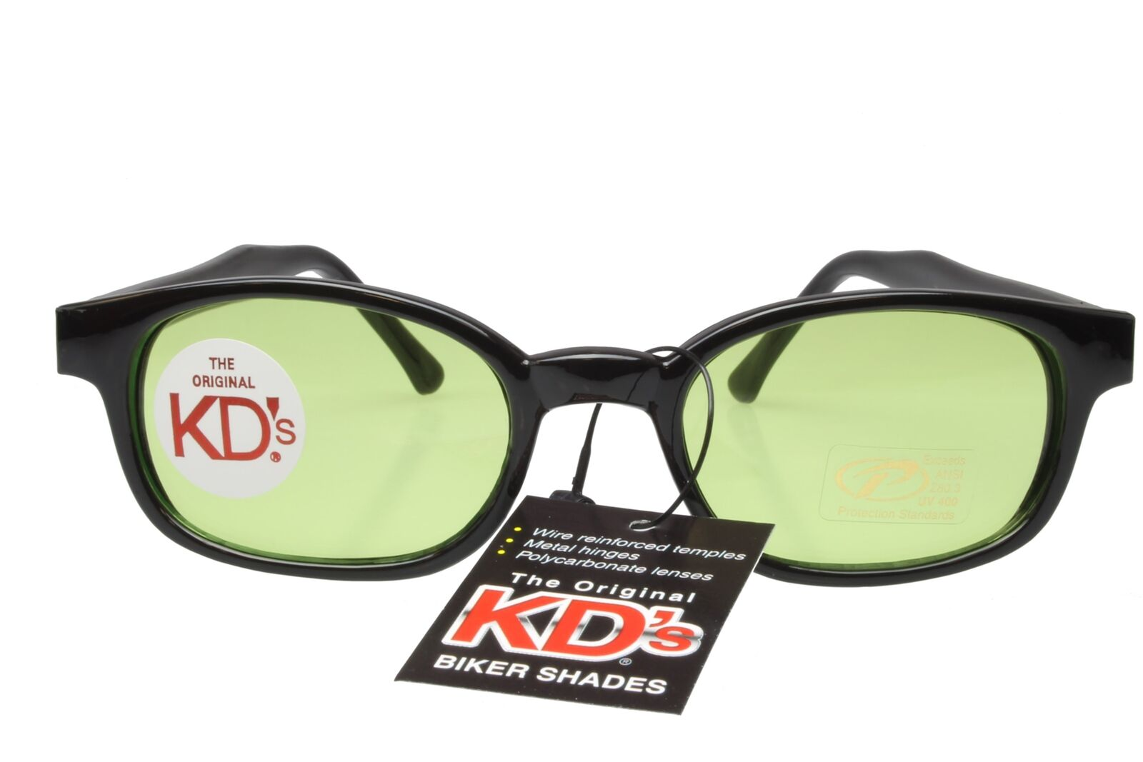 719b7bf96b Details about KD s Sunglasses Original Biker Shades Motorcycle Black Lt  Green Lens 2016