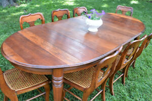 Beautiful Antique Country Dining Table and 8 Cane Chairs