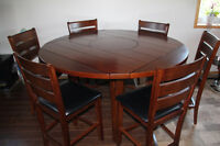 6 Person Solid Wood Dining Table With Lazy Susan and 6 Chairs