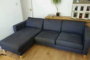 Ikea Karlstad Sofa with Chaise - Navy Blue