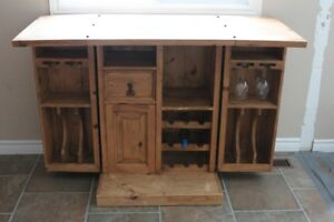 Beautiful matching solid wood armoire and kitchen island/bar