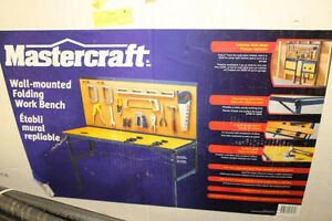 2 MASTERCRAFT WALL MOUNTED FOLDING WORK BENCHES
