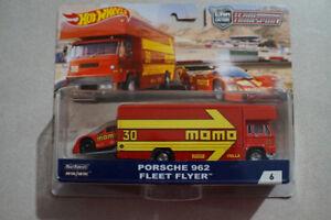 Hot Wheels Team Transport Porsche 962 and Fleet Flyer 1/64 EURO