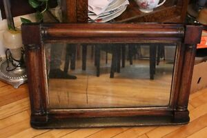 Antique Wood Wall Hanging Mirror with Bottom Shelf