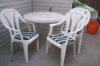 PATIO TABLE & 3 CHAIRS