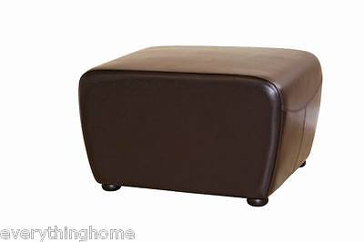 - DARK BROWN FULL BI-CAST LEATHER OTTOMAN WITH ROUND SIDES MODERN FOOTSTOOL