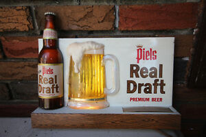 1966 PIELS DRAFT BEER LIGHTED TIN & PLASTIC SIGN