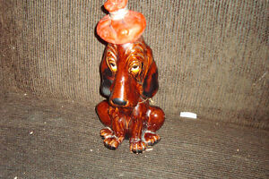 Vintage Enesco Hungover Dog Decanter and other figurines