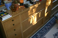 Estate Sale- Bleached oak dresser with mirror and highboy.