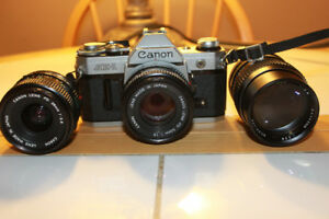 Canon AE1 35mm Film Camera With 3 Lenses