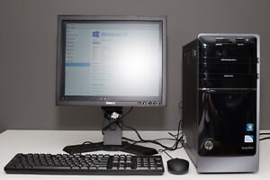 HP desktop computer with monitor, keyboard and mouse