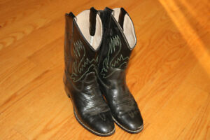 COWBOY BOOTS Black Leather Size Youth 1