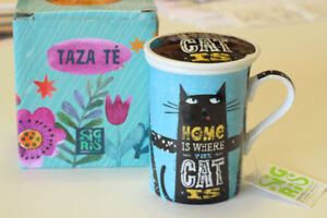 Cat Mug with Infuser + Lid for tea (or coffee): NEW in box