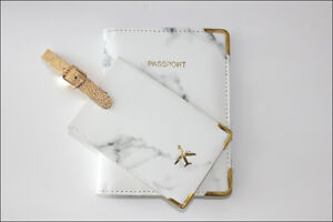 White marble Passport holder Rfid blocking cover & luggage tag