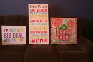 Wall Art - 3 stretched canvas, girls bedroom decor