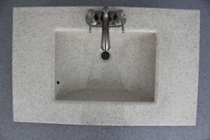 New beige bathroom vanity top with faucet