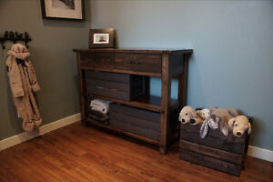Reclaimed Wood Console Table $955  by LIKEN Woodworks