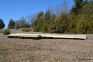 8' x 24' cedar floating dock with a 4' x 20' ramp