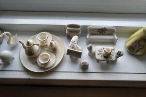 Porcelain dollhouse furniture and tea set