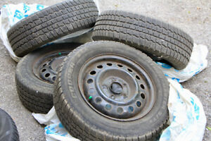 Used - Four Tires and Rims! 195/65R15 - Winter tires