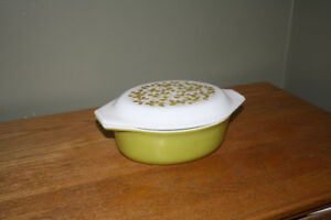 Covered Casserole Dish Oval with Green Flowers