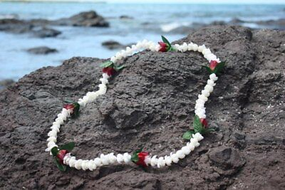 Lei Pikake w/ Rose Bud White & Red 18