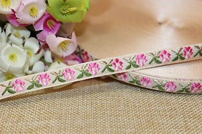 3/8 wide Multicolor Flower  Woven Jacquard Ribbon  - price for one yard