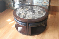 "40"" Round Coffee Table W 4 stools"