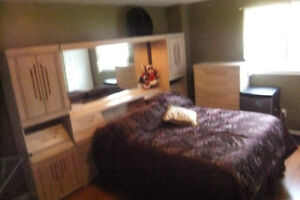 QUEEN OR KING BEDROOM SET TALL BOY,DRESSER,MIRROR AND WALL UNIT