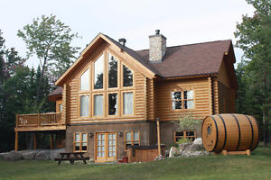 Luxury Log house for rent close to the ski hills St Sauveur