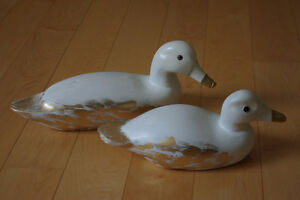 2 Handcarved Wooden Ducks 1 foot, Copper fish mould, Duck basket