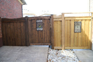 We are painting & staining garage door, fence and deck