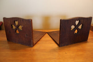 Vintage Wooden Bookends with Heart Cut Outs