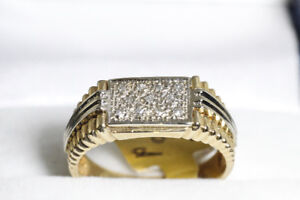 NEW SOLID STAMPED 10K. TWO TONE DIAMOND MAN'S RING FOR SALE.