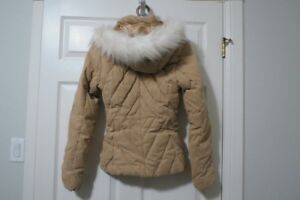 Women's RW & Co. tan jacket- detachable faux fur hood trim, xs