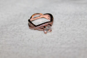 Ladies 18k Rose Gold Over 925 Silver, Size 6, Engagement Ring