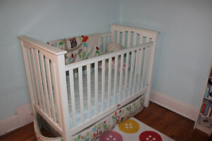 Pottery Barn adjustable crib & mattress with bedding