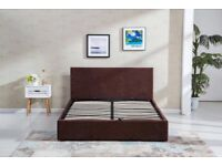 CHOCOLATE BROWN BEDS - VELVET CRUSHED MATERIAL - SINGLE DOUBLE AND KING SIZE - CLEARANCE SALE