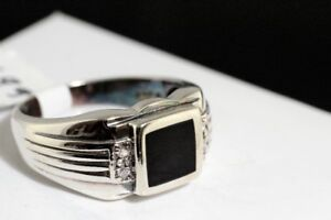 NEW SOLID STAMPED 925 SILVER & BLACK ONYX MAN'S RING FOR SALE.