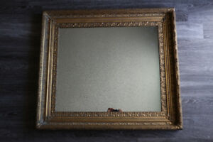 ANTIQUE 19TH CENTURY WOOD MIRROR LARGE