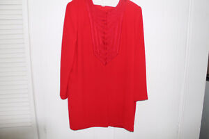 Ladies Red Suit with 3/4 length jacket. Fully lined