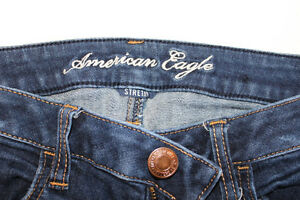 American Eagle SIZE 6 Regular Fit - Stretch Dark Blue With Rips