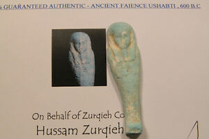 Ancient Egyptian Faience Ushabti Statue ~600 BC with Certificate